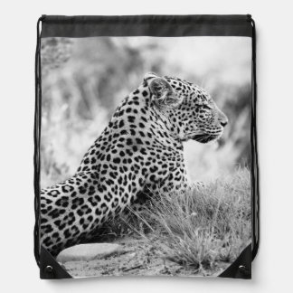 Black and White photo of Leopard looking Cinch Bag