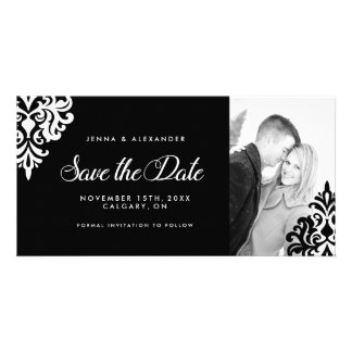 Black and White Photo Save The Date Invitation Picture Card