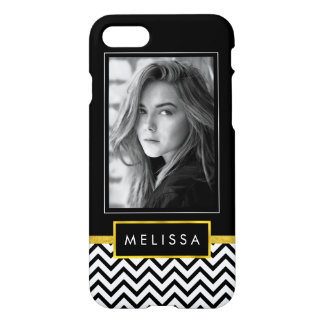 Black and White Photo Template w/ Faux Gold Finish iPhone 7 Case