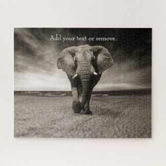 Black and white photograph of an African elephant, Jigsaw Puzzle