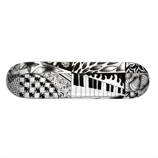 Black and white piano doodles graffiti skate board
