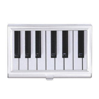 Black and White Piano Keys Business Card Holder