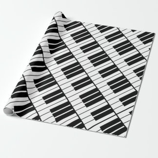 Black and white piano keys Holiday wrapping paper