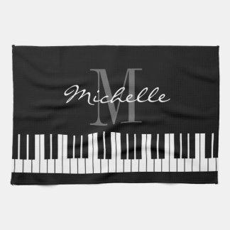 Black and white piano keys monogram kitchen towel