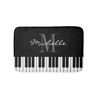 Black and white piano keys monogrammed bath mat
