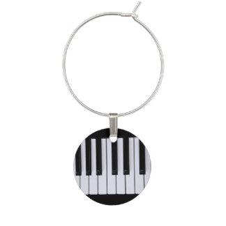 Black and White Piano Keys Wine Charm
