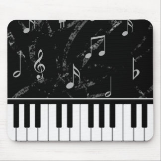Black and White Piano Music Mouse Pad
