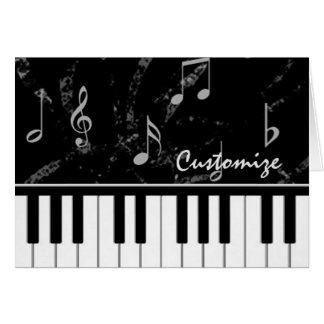 Black and White Piano Music Note Card