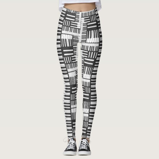 Black and White Piano Pattern Leggings