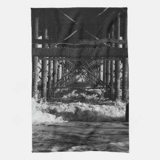 Black and White pier tea towel