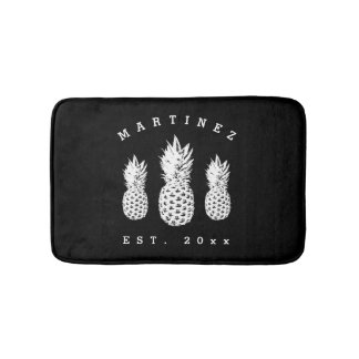 Black and white pineapple fruit custom bath mat