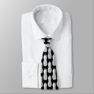 Black and white pineapple fruit pattern neck tie