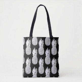 Black and white pineapple fruit pattern tote bags
