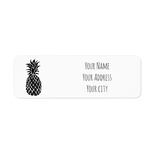 black and white pineapple return address label