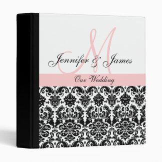 Black and White Pink Damask Wedding Planner Binders