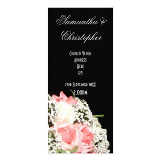 Black and white pink rose church wedding program rack card design