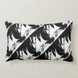 Black and White Pirate Ship Lumbar Pillow