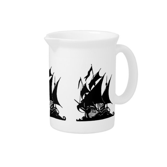 Black and White Pirate Ship Pitcher