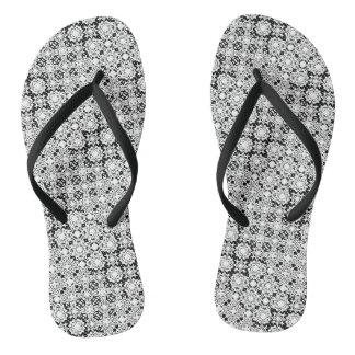 Black and White Pixel Lace Pattern Flip Flops