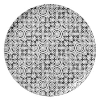 Black and White Pixel Lace Pattern Plate