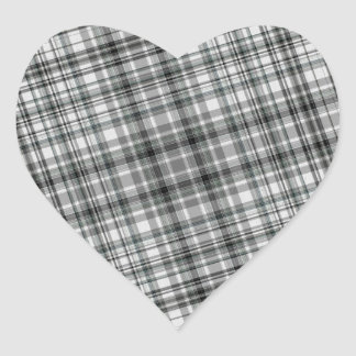 Black and White Plaid Background Heart Stickers