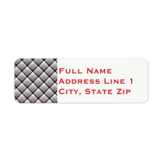 Black and White Plaid Holiday Return Address Label