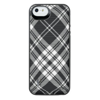 Black and White Plaid iPhone SE/5/5s Battery Case