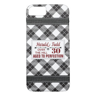 Black And White Plaid Over The Hill iPhone 8/7 Case