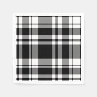 Black and White Plaid Paper Napkin