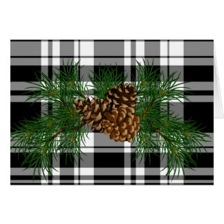 Black and White Plaid with Pine-cone detail Card