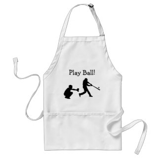 Black and White Play Ball Baseball Sports Apron