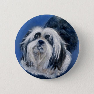 Black and White Playful Small Dog 2 Inch Round Button