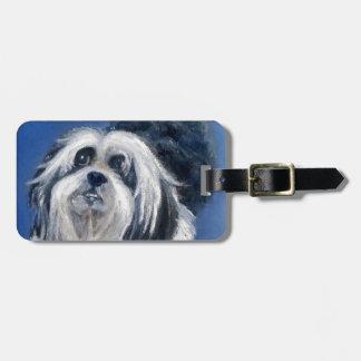 Black and White Playful Small Dog Bag Tag