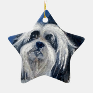 Black and White Playful Small Dog Ceramic Ornament