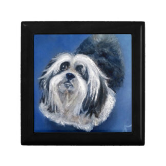 Black and White Playful Small Dog Gift Box