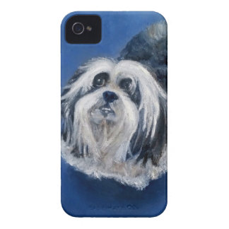 Black and White Playful Small Dog iPhone 4 Case-Mate Case