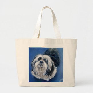 Black and White Playful Small Dog Large Tote Bag
