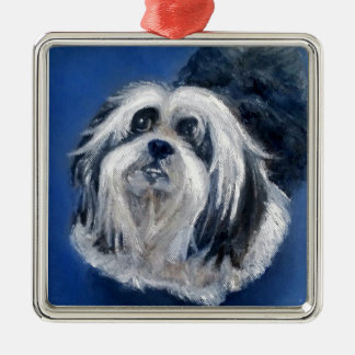 Black and White Playful Small Dog Metal Ornament