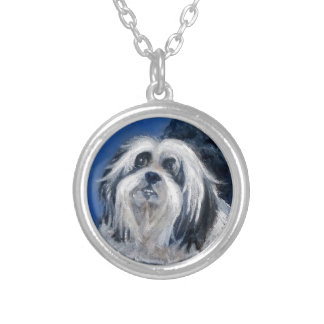 Black and White Playful Small Dog Silver Plated Necklace