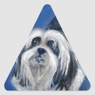 Black and White Playful Small Dog Triangle Sticker