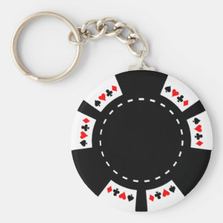 Black and White Poker Chip Keychain