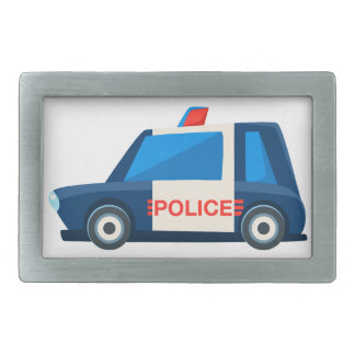 Black And White Police Toy Cute Car Icon Belt Buckle