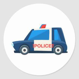 Black And White Police Toy Cute Car Icon Classic Round Sticker