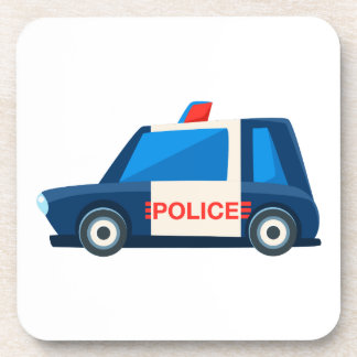 Black And White Police Toy Cute Car Icon Coaster