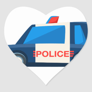 Black And White Police Toy Cute Car Icon Heart Sticker
