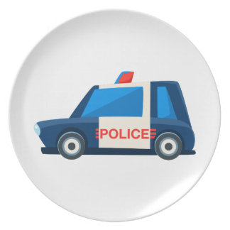 Black And White Police Toy Cute Car Icon Plate
