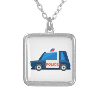 Black And White Police Toy Cute Car Icon Silver Plated Necklace