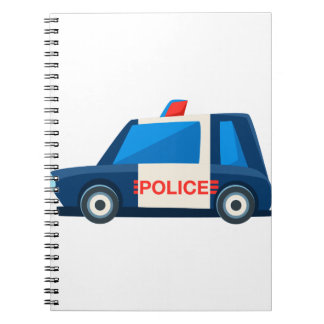 Black And White Police Toy Cute Car Icon Spiral Notebook
