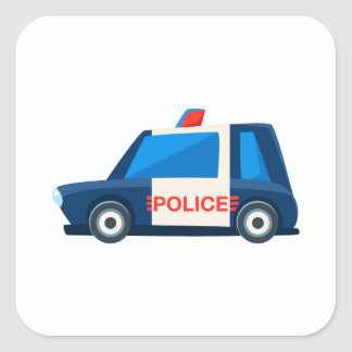 Black And White Police Toy Cute Car Icon Square Sticker