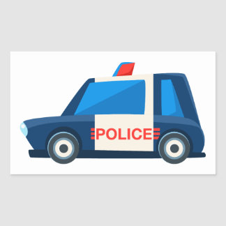 Black And White Police Toy Cute Car Icon Sticker